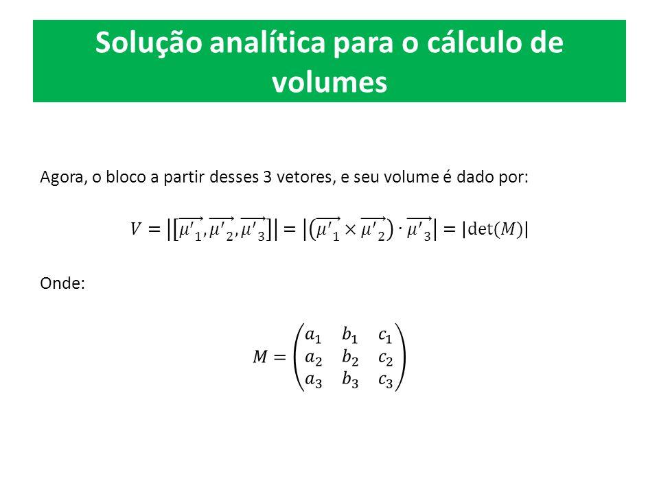 Solução analítica para o cálculo de volumes