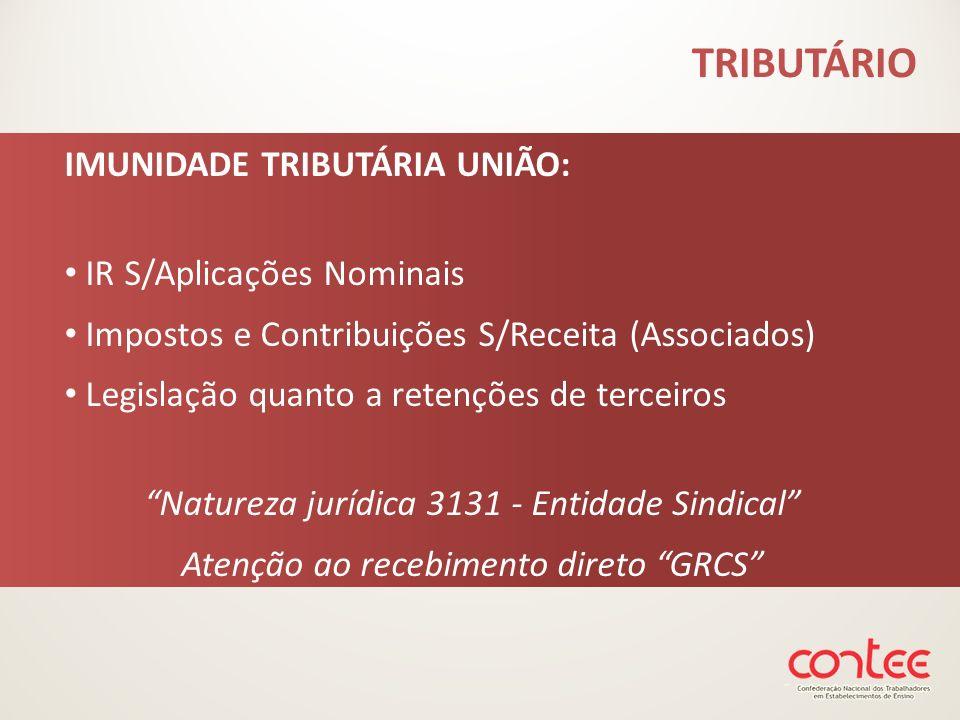 TRIBUTÁRIO IMUNIDADE TRIBUTÁRIA UNIÃO: IR S/Aplicações Nominais