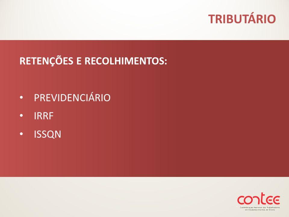 TRIBUTÁRIO RETENÇÕES E RECOLHIMENTOS: PREVIDENCIÁRIO IRRF ISSQN