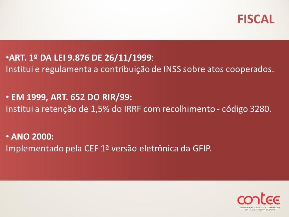 FISCAL ART. 1º DA LEI 9.876 DE 26/11/1999: Institui e regulamenta a contribuição de INSS sobre atos cooperados.