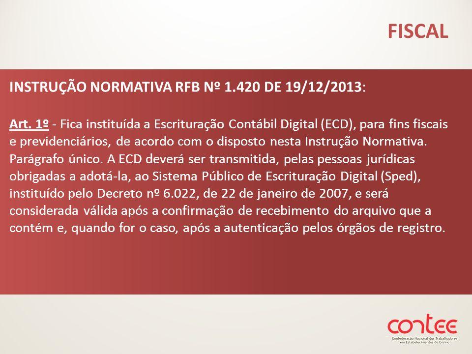 FISCAL INSTRUÇÃO NORMATIVA RFB Nº 1.420 DE 19/12/2013: