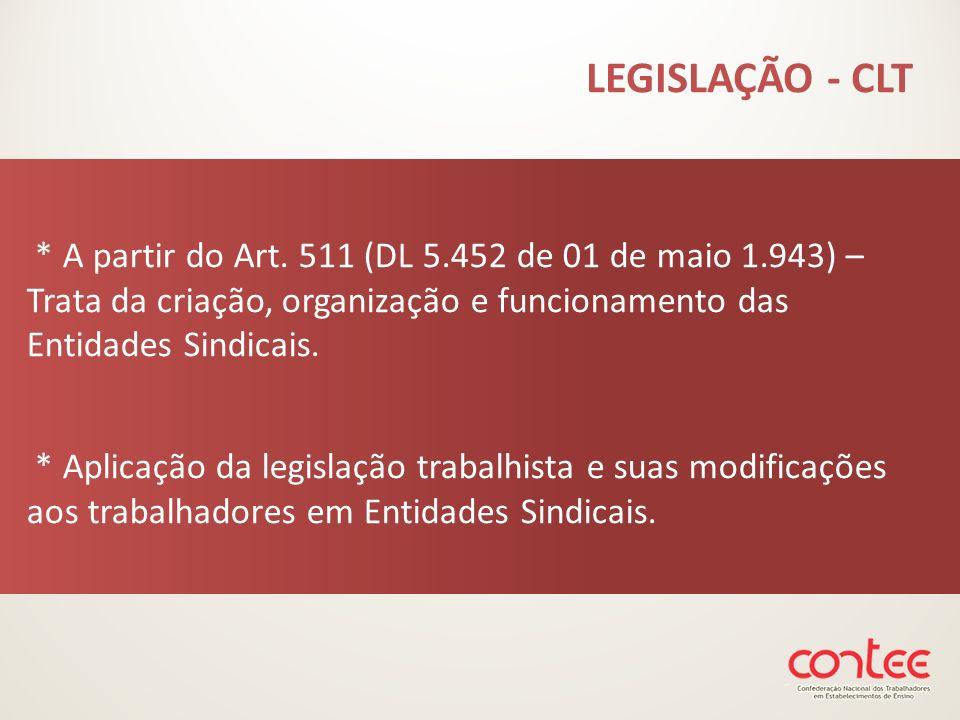 LEGISLAÇÃO - CLT * A partir do Art. 511 (DL 5.452 de 01 de maio 1.943) – Trata da criação, organização e funcionamento das Entidades Sindicais.