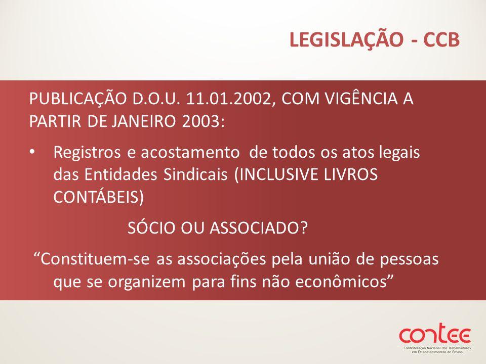LEGISLAÇÃO - CCB PUBLICAÇÃO D.O.U. 11.01.2002, COM VIGÊNCIA A PARTIR DE JANEIRO 2003: