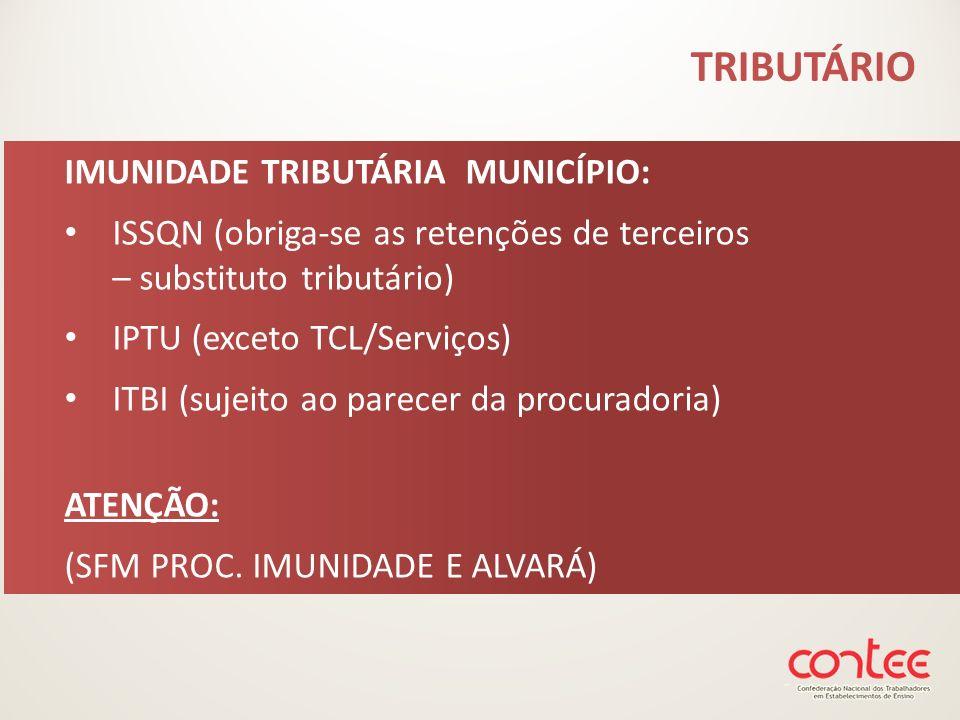 TRIBUTÁRIO IMUNIDADE TRIBUTÁRIA MUNICÍPIO: