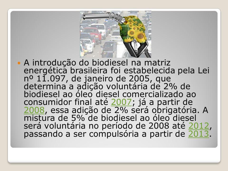 A introdução do biodiesel na matriz energética brasileira foi estabelecida pela Lei nº 11.097, de janeiro de 2005, que determina a adição voluntária de 2% de biodiesel ao óleo diesel comercializado ao consumidor final até 2007; já a partir de 2008, essa adição de 2% será obrigatória.
