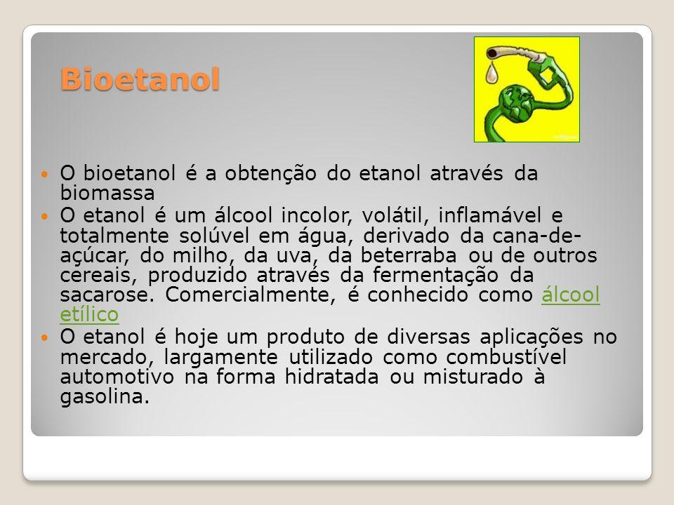 Bioetanol O bioetanol é a obtenção do etanol através da biomassa