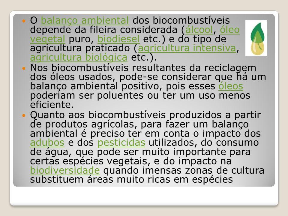 O balanço ambiental dos biocombustíveis depende da fileira considerada (álcool, óleo vegetal puro, biodiesel etc.) e do tipo de agricultura praticado (agricultura intensiva, agricultura biológica etc.).