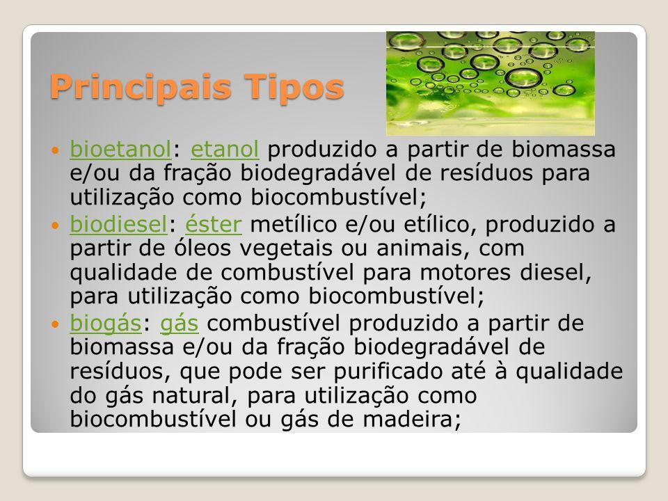 Principais Tipos bioetanol: etanol produzido a partir de biomassa e/ou da fração biodegradável de resíduos para utilização como biocombustível;