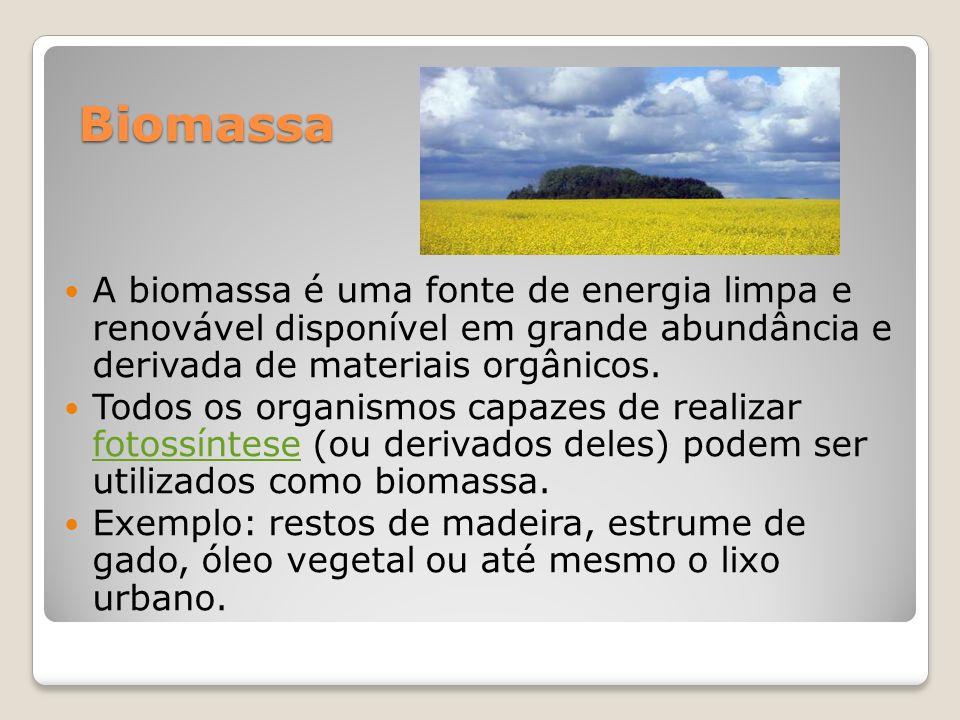 Biomassa A biomassa é uma fonte de energia limpa e renovável disponível em grande abundância e derivada de materiais orgânicos.