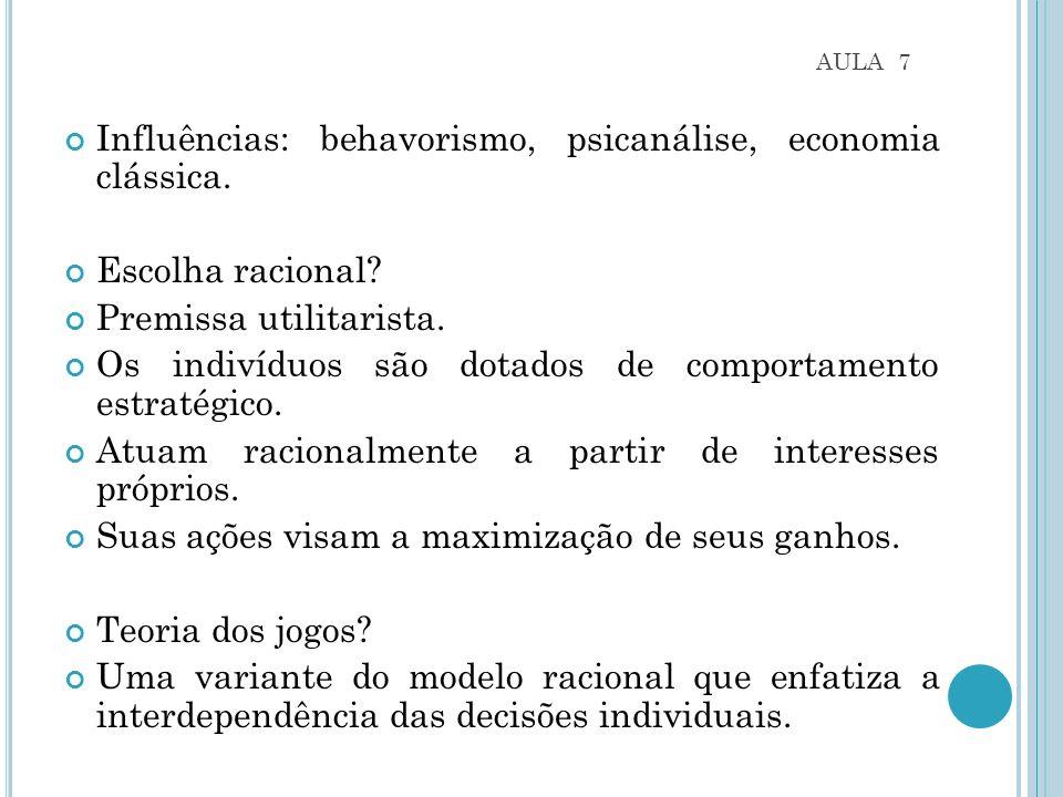 Influências: behavorismo, psicanálise, economia clássica.
