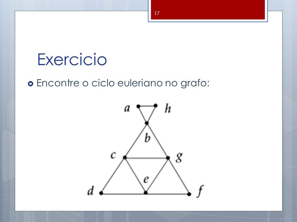 Exercicio Encontre o ciclo euleriano no grafo: