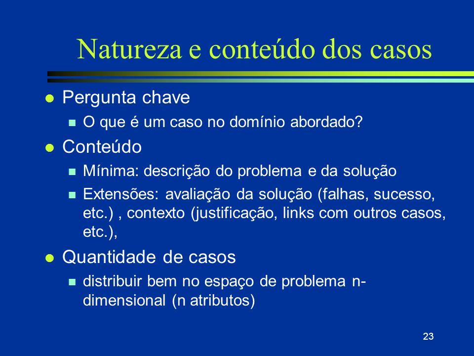 Natureza e conteúdo dos casos