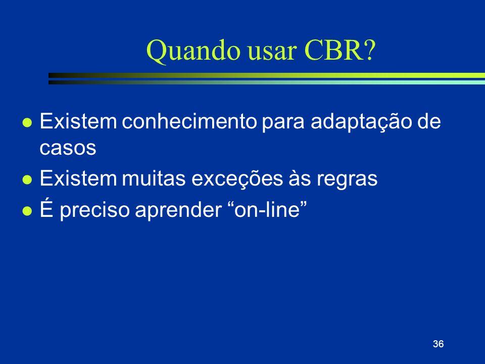 Quando usar CBR Existem conhecimento para adaptação de casos