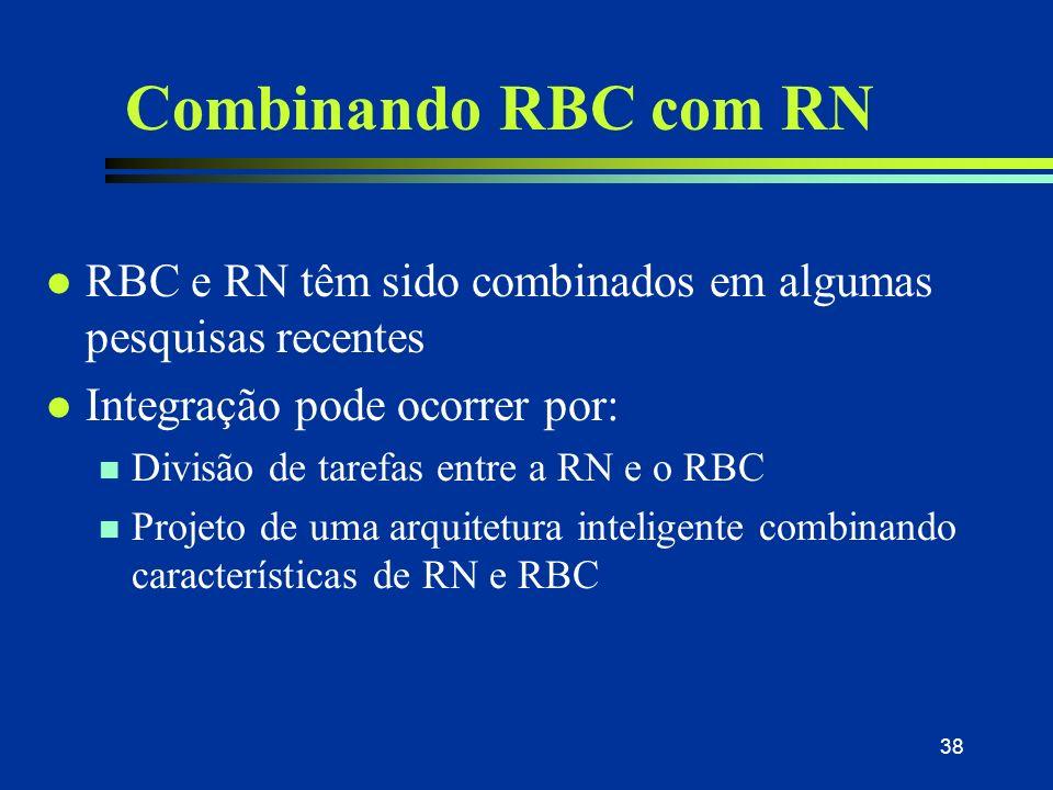 30/03/2017 Combinando RBC com RN. RBC e RN têm sido combinados em algumas pesquisas recentes. Integração pode ocorrer por: