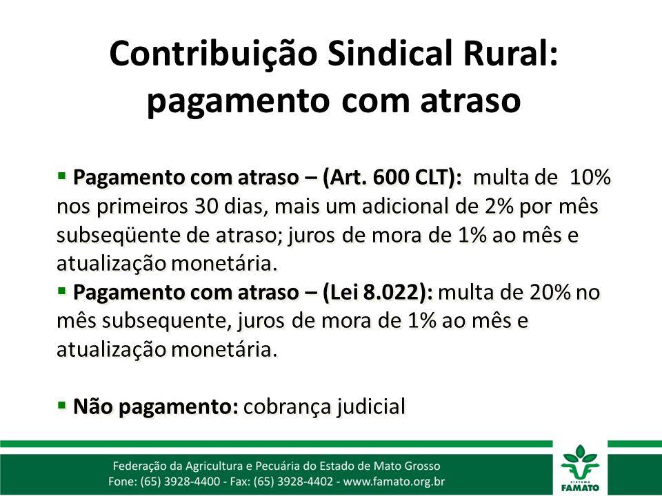 Contribuição Sindical Rural: pagamento com atraso