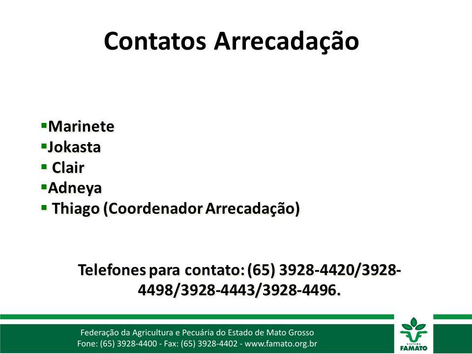 Telefones para contato: (65) 3928-4420/3928-4498/3928-4443/3928-4496.