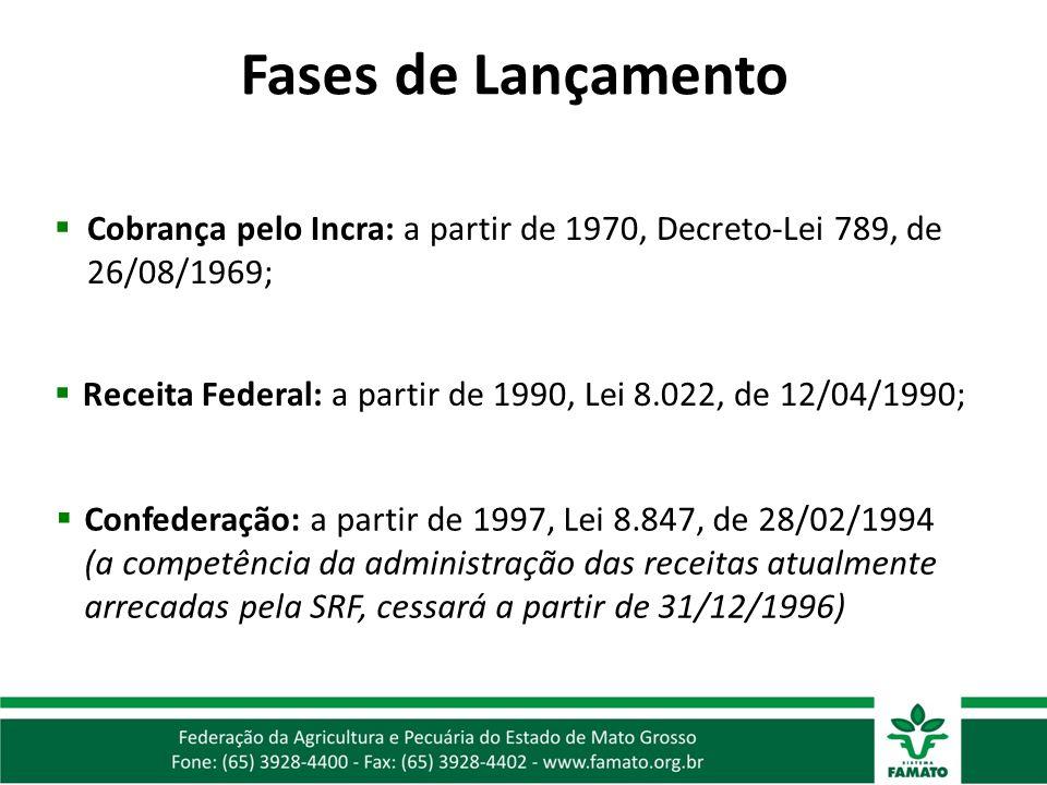 Fases de Lançamento Cobrança pelo Incra: a partir de 1970, Decreto-Lei 789, de 26/08/1969;