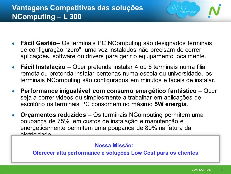 Vantagens Competitivas das soluções NComputing – L 300