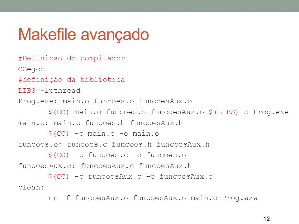 Makefile avançado