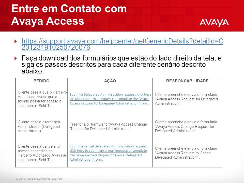 Entre em Contato com Avaya Access