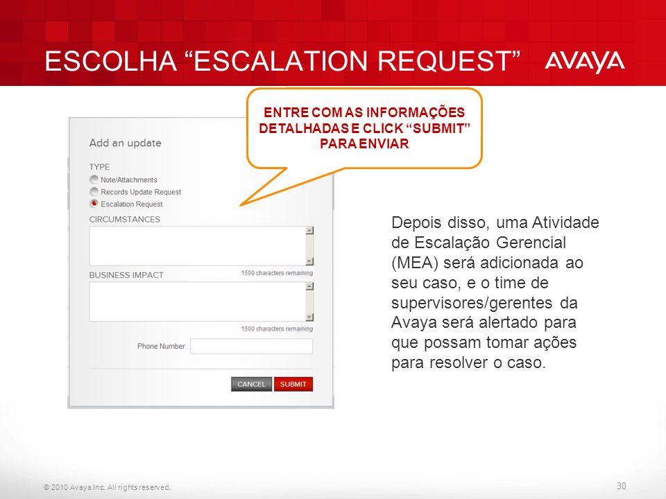 ESCOLHA ESCALATION REQUEST