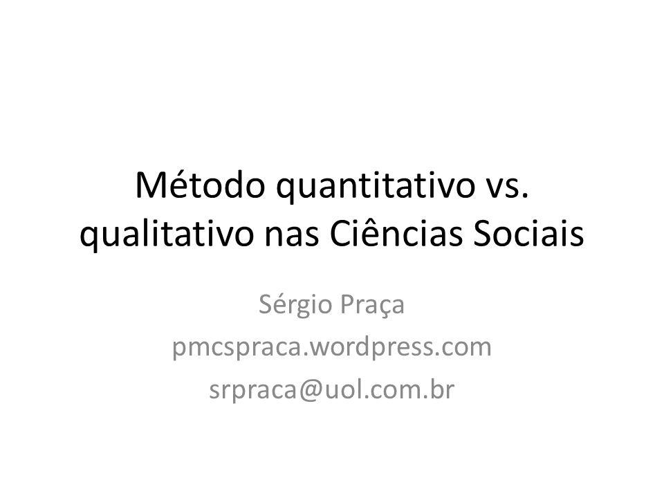 Método quantitativo vs. qualitativo nas Ciências Sociais