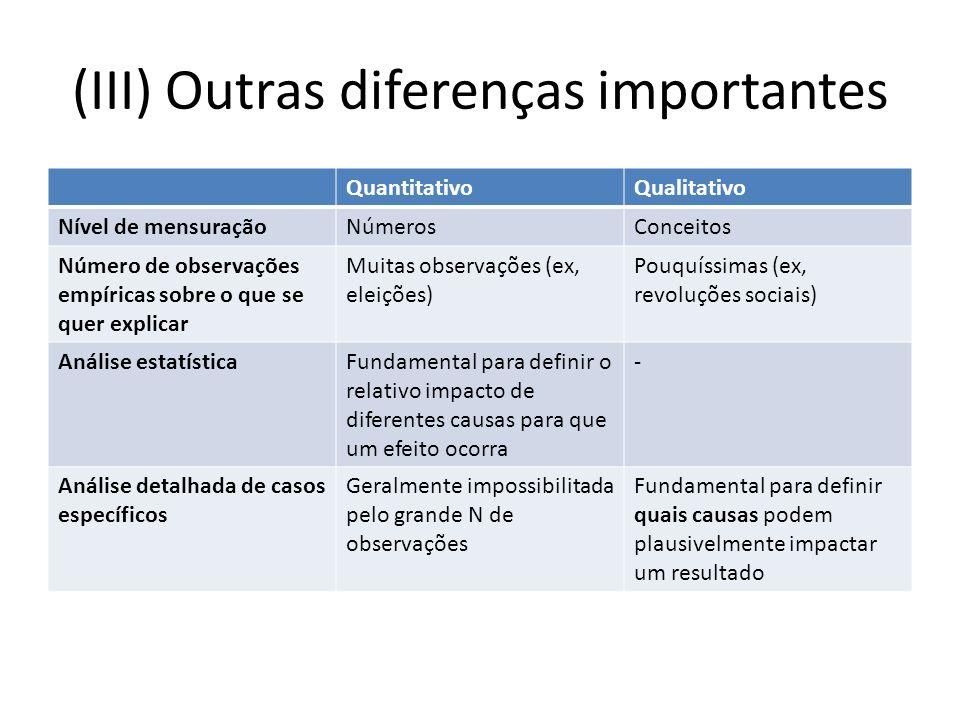 (III) Outras diferenças importantes