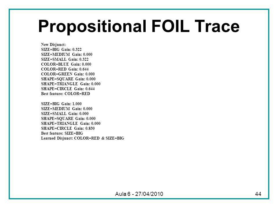 Propositional FOIL Trace
