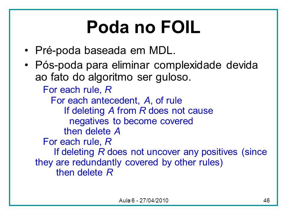 Poda no FOIL Pré-poda baseada em MDL.