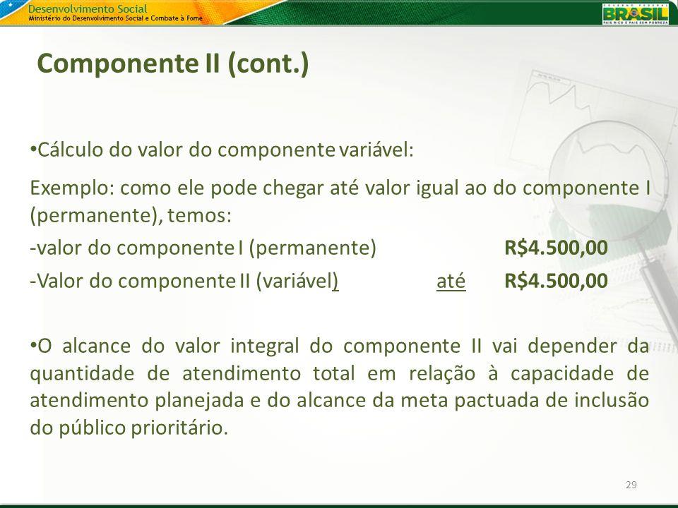 Componente II (cont.) Cálculo do valor do componente variável:
