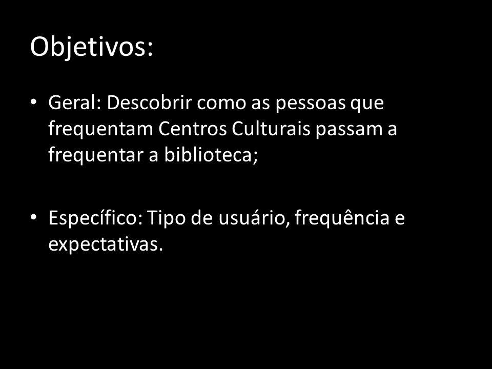 Objetivos: Geral: Descobrir como as pessoas que frequentam Centros Culturais passam a frequentar a biblioteca;