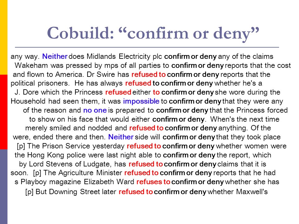 Cobuild: confirm or deny