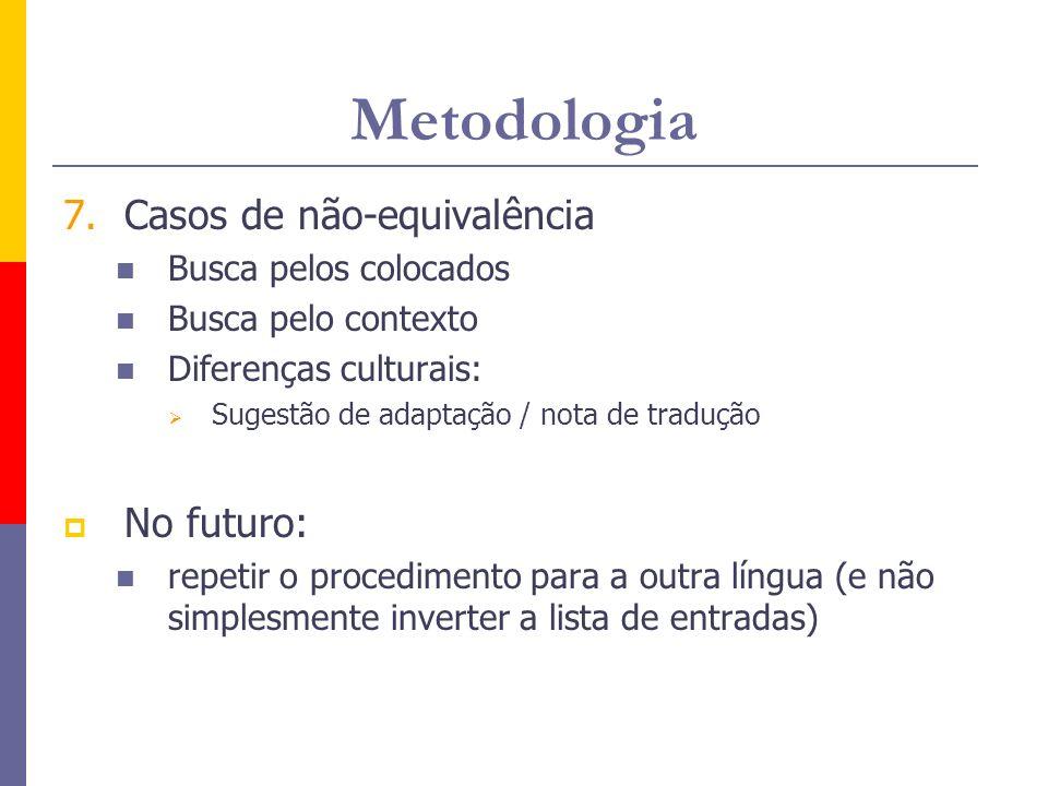 Metodologia Casos de não-equivalência No futuro: Busca pelos colocados