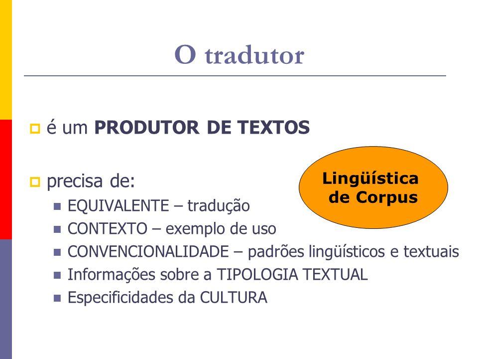 O tradutor é um PRODUTOR DE TEXTOS precisa de: EQUIVALENTE – tradução