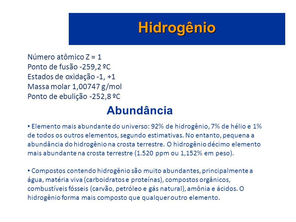 Hidrogênio Abundância Número atômico Z = 1 Ponto de fusão -259,2 ºC