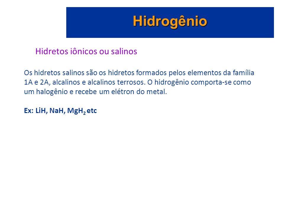 Hidrogênio Hidretos iônicos ou salinos