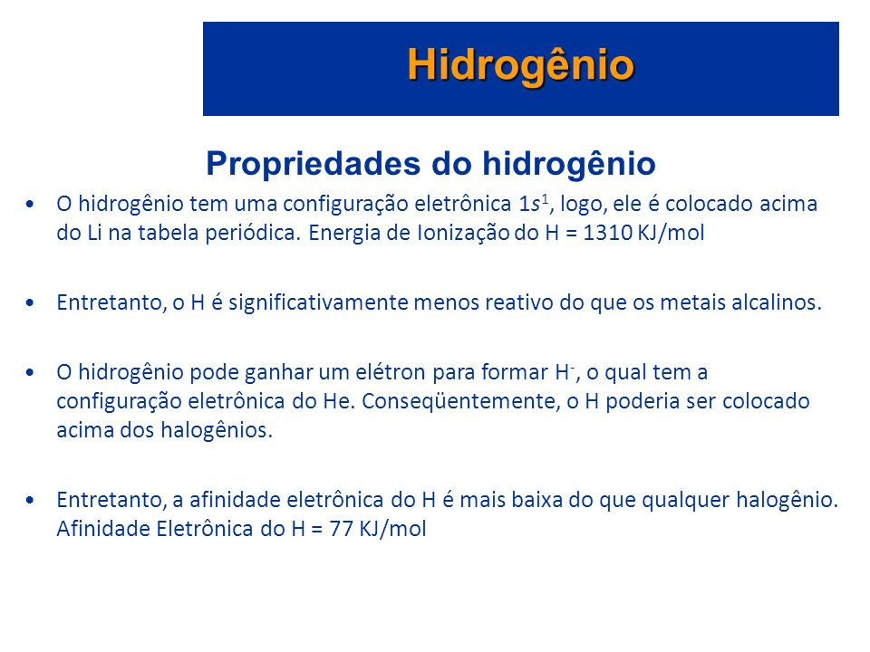 Propriedades do hidrogênio