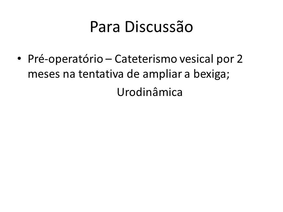 Para Discussão Pré-operatório – Cateterismo vesical por 2 meses na tentativa de ampliar a bexiga; Urodinâmica.
