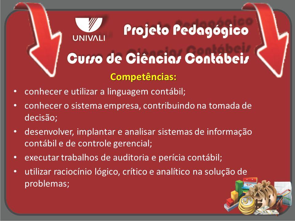 Competências: conhecer e utilizar a linguagem contábil;