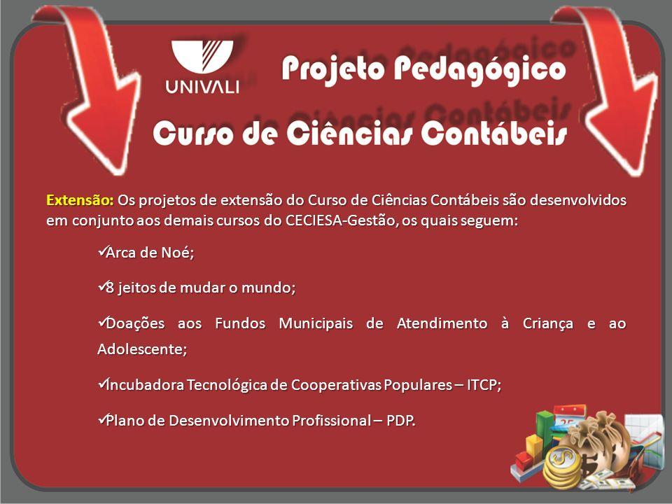 Extensão: Os projetos de extensão do Curso de Ciências Contábeis são desenvolvidos em conjunto aos demais cursos do CECIESA-Gestão, os quais seguem: