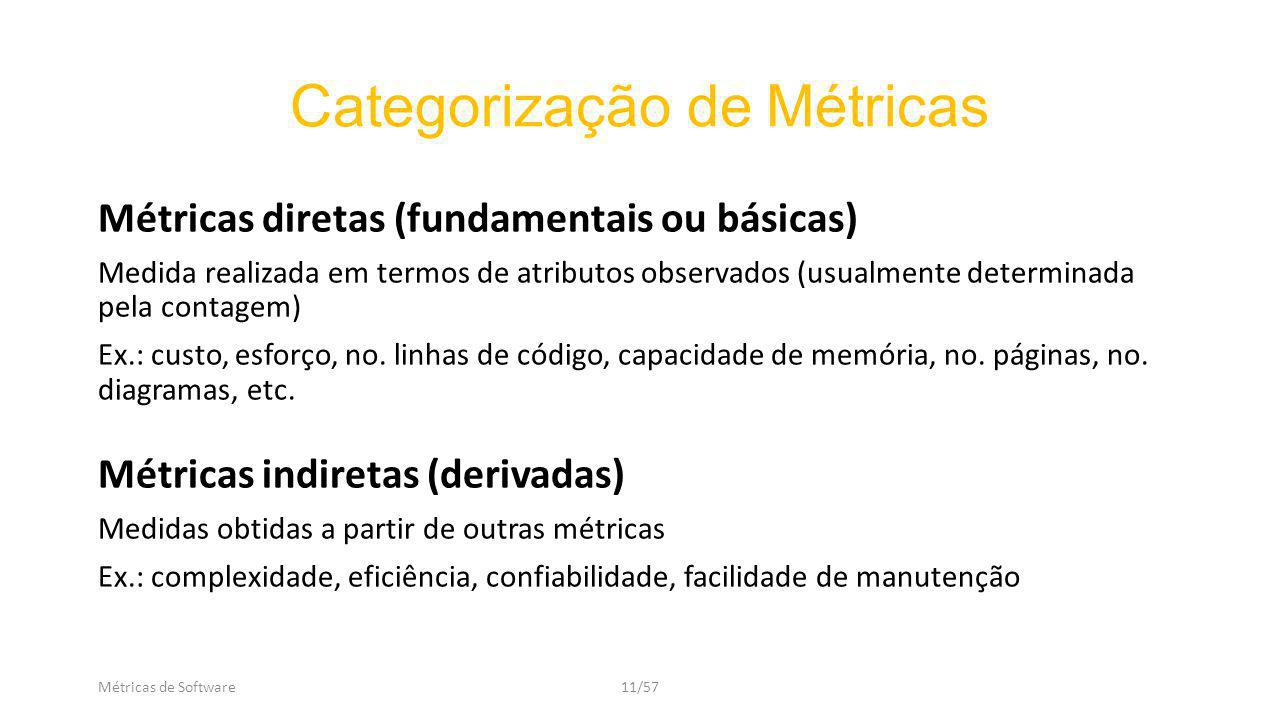 Categorização de Métricas