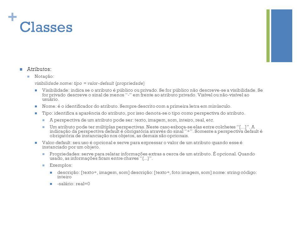 Classes Atributos: Notação: