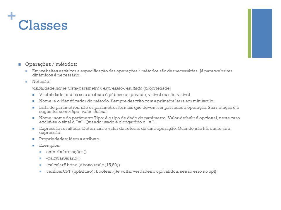 Classes Operações / métodos: