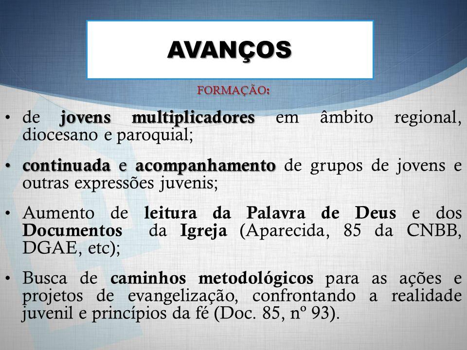 AVANÇOS FORMAÇÃO: de jovens multiplicadores em âmbito regional, diocesano e paroquial;