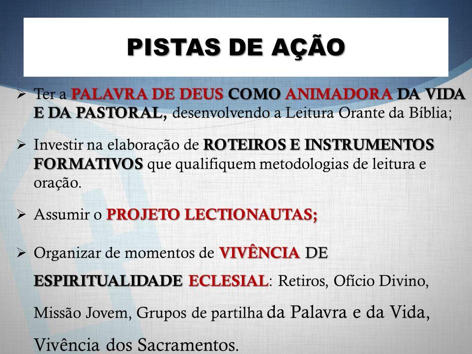 PISTAS DE AÇÃO Ter a PALAVRA DE DEUS COMO ANIMADORA DA VIDA E DA PASTORAL, desenvolvendo a Leitura Orante da Bíblia;