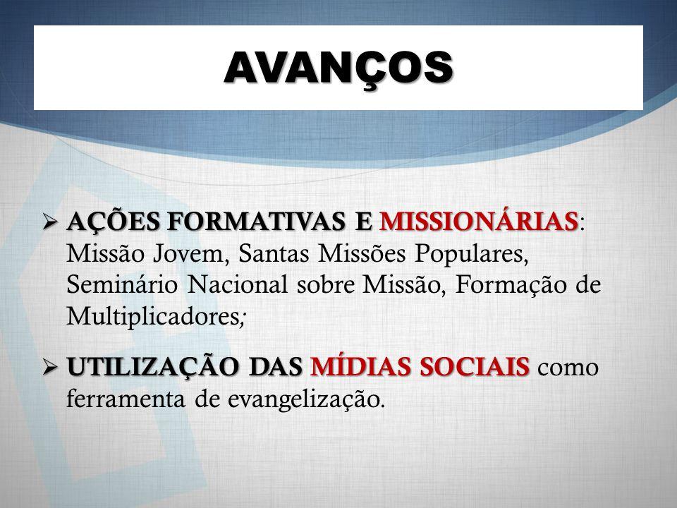 AVANÇOS AÇÕES FORMATIVAS E MISSIONÁRIAS: Missão Jovem, Santas Missões Populares, Seminário Nacional sobre Missão, Formação de Multiplicadores;