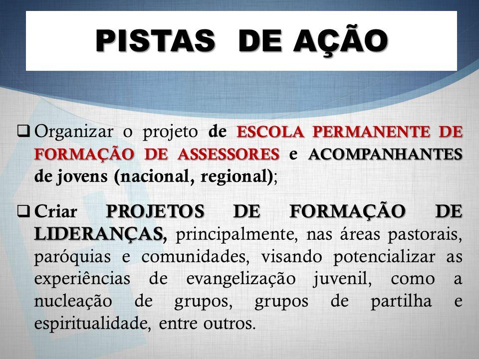 PISTAS DE AÇÃO Organizar o projeto de ESCOLA PERMANENTE DE FORMAÇÃO DE ASSESSORES e ACOMPANHANTES de jovens (nacional, regional);