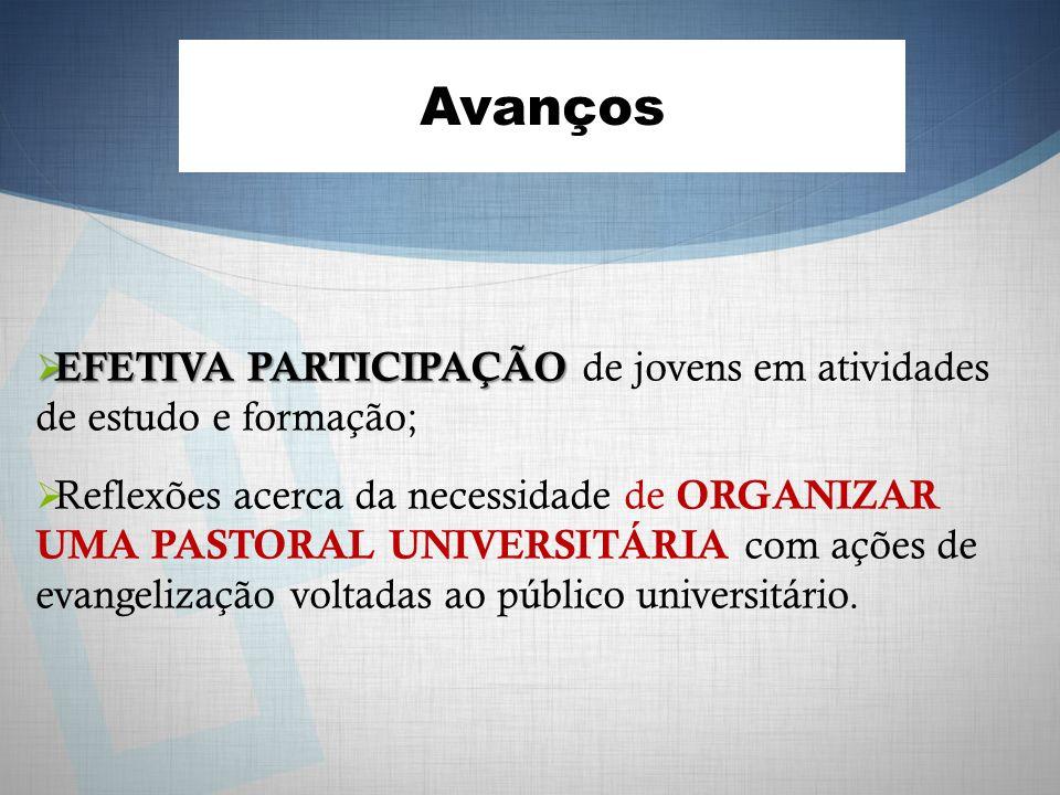 Avanços EFETIVA PARTICIPAÇÃO de jovens em atividades de estudo e formação;