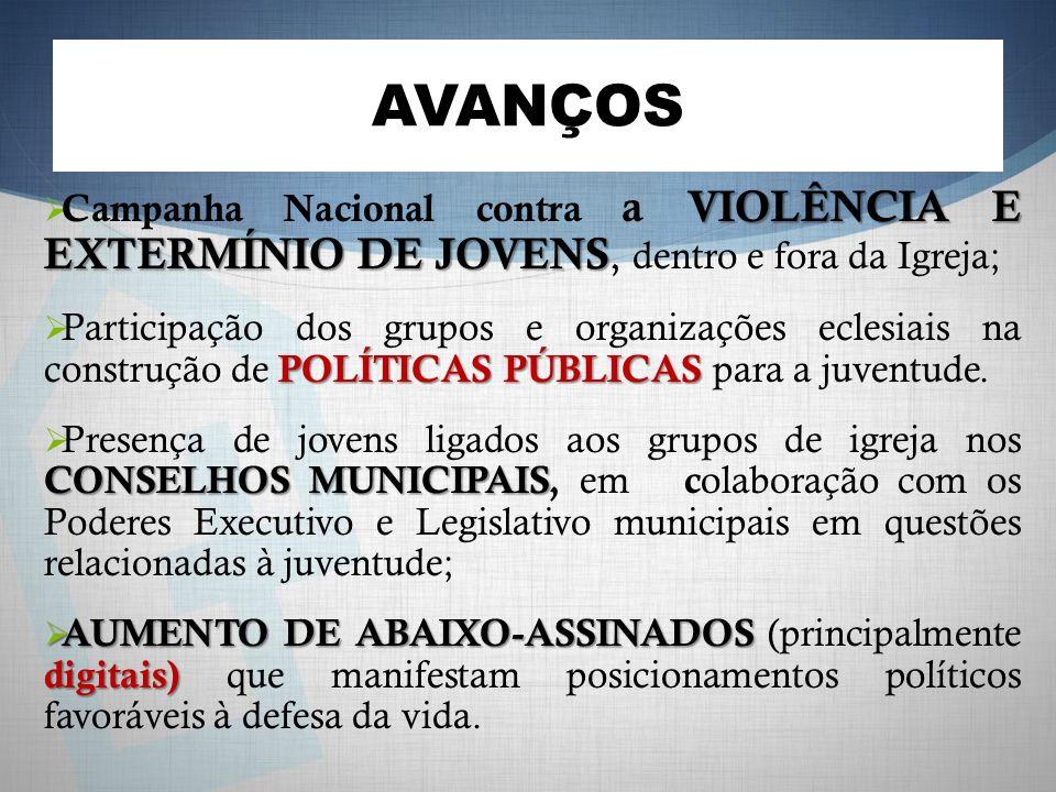 AVANÇOS Campanha Nacional contra a VIOLÊNCIA E EXTERMÍNIO DE JOVENS, dentro e fora da Igreja;