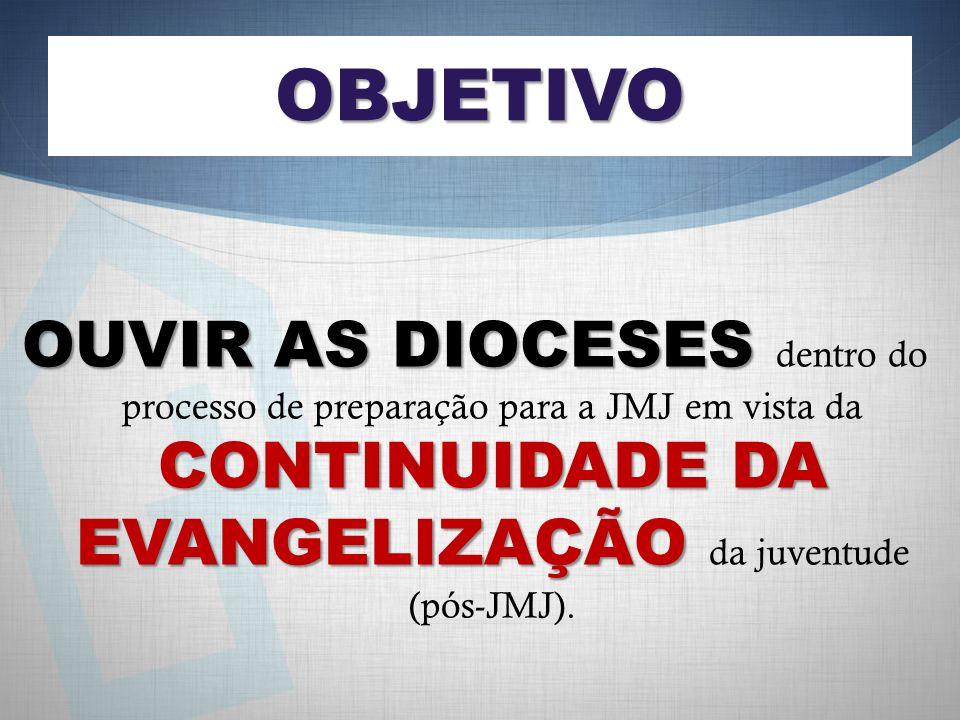 OBJETIVO OUVIR AS DIOCESES dentro do processo de preparação para a JMJ em vista da CONTINUIDADE DA EVANGELIZAÇÃO da juventude (pós-JMJ).